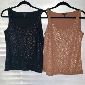 2 Talbots Sequin Sleeveless Tank Top